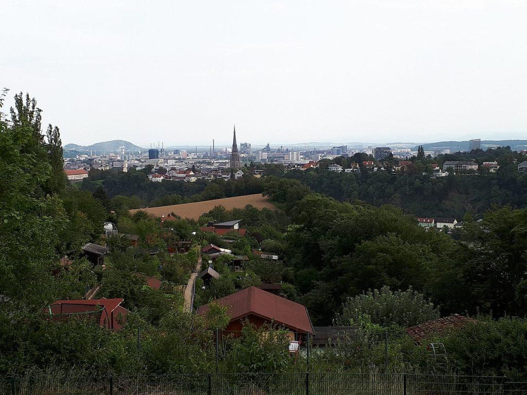 Blick über die Stadt vom Zoo Linz