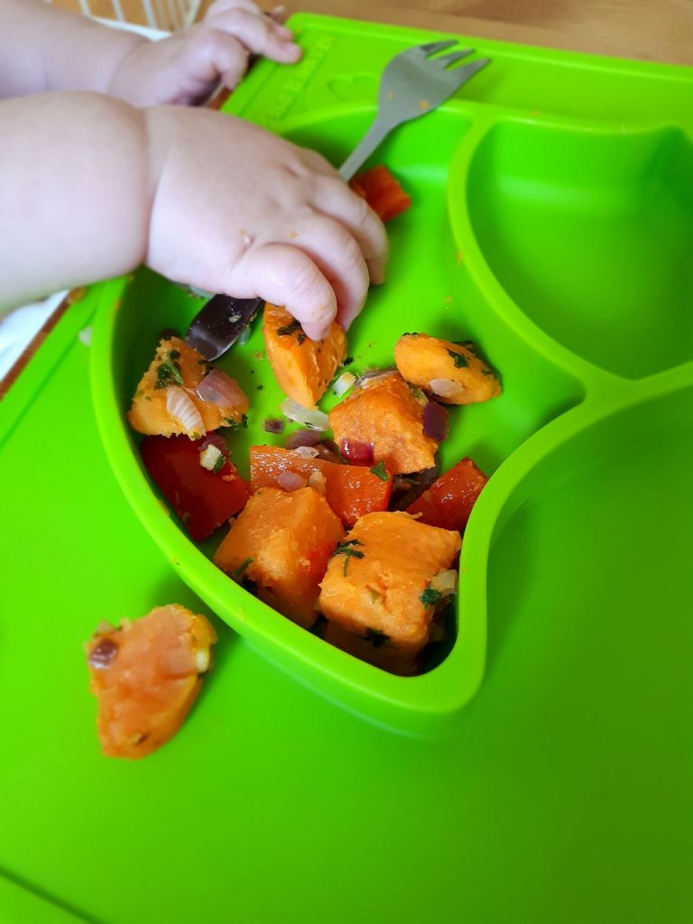 BLW beginnen mit Süßkartoffeln und Paprika