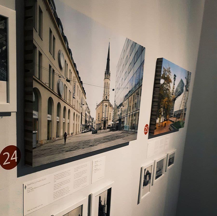 Bild des Martin Luther Platzes in Linz in der Ausstellung Stadtoasen im NORDICO Stadtmuseum