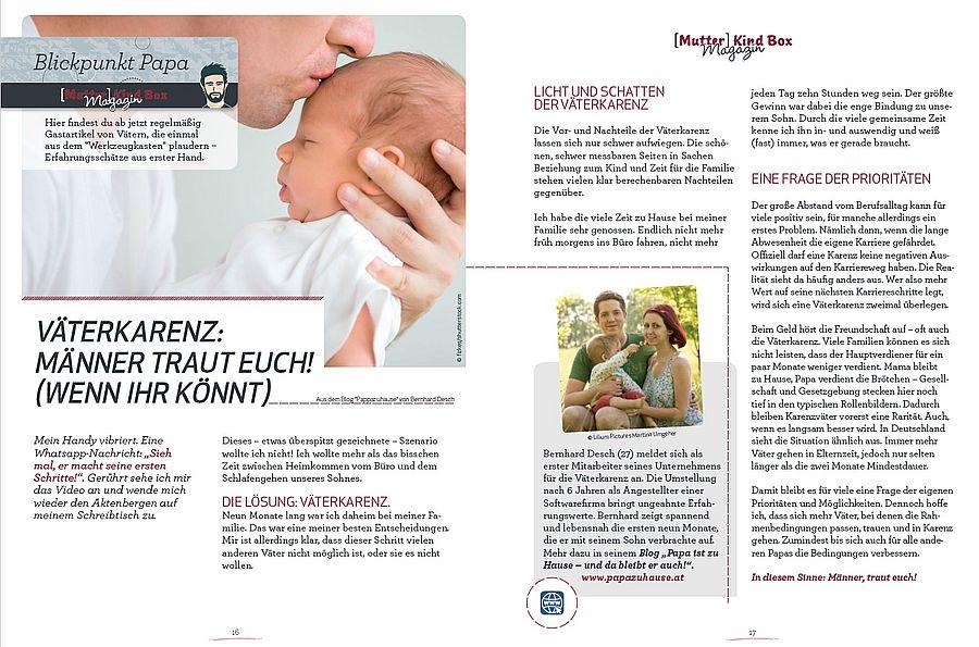 Gastbeitrag Bernhard Desch papazuhause Mutter-Kind-Box Väterkarenz