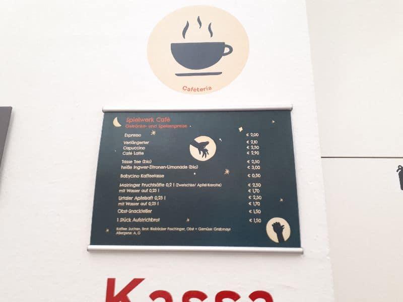Spielwerk Gaudimax Linz 2019 2020  Cafeteria Speisekarte